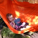 Chilling in our homemade hammock.