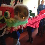 Performing a lion dance!